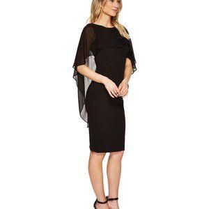NEW Calvin Klein Black Chiffon Cape Sheath dress 8